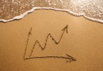 growth in business, chart drawn on the sand
